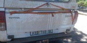 Our mud-covered van during the Hobeni Village visit